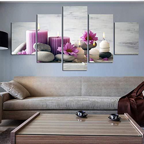 5 Stück Malerei Leinwand Poster Rot Weiß Stein Blume Modulare Wand Fotokerze für Wohnzimmer Home Decoration-4x6 / 8 / 10inch, ungerahmt