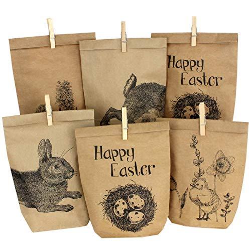 Papierdrachen 12 Bedruckte Tüten zu Ostern mit Hasen, Blumen und Küken - ideale Geschenkidee oder Oster Dekoration - mit Holzklammern   Osternest zum Basteln und Verschenken