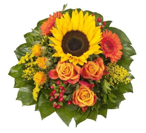 Dominik Blumen und Pflanzen, Blumenstrauß 'Sonnenlicht' mit einer Sonnenblume, orangen Rosen, Germini, Färberdistel und Goldrute