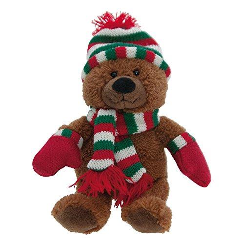 ebos Teddybär | Winterbär mit Mütze, Schal, Handschuhe | Verschiedene Designs verfügbar (Braun/Rot/Grün/Weiß)
