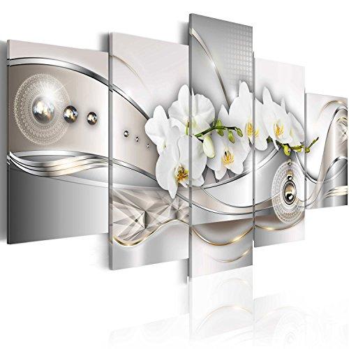 murando - Bilder Abstrakt 200x100 cm Vlies Leinwandbild 5 TLG Kunstdruck modern Wandbilder XXL Wanddekoration Design Wand Bild - Blumen Orchidee Ornament Perlen grau Silber Gold b-A-0073-b-n