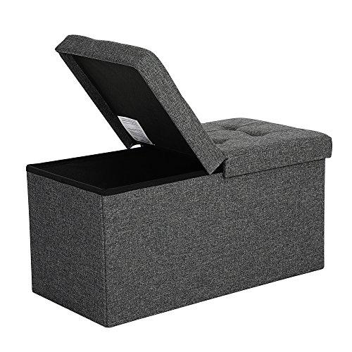 SONGMICS Faltbare Sitzbank 80 L Truhenbank Halbdeckel seitlich klappbar belastbar bis 300 kg 76 x 38 x 38 cm dunkelgrau LSF46GYZ