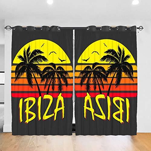 HONGYANW Maßgeschneiderte Verdunkelungsvorhänge Ibiza Vintage Sonne Ösen Thermoisoliert Zimmer Verdunkelung Drape für Schlafzimmer Wohnzimmer 132,2 x 182,9 cm