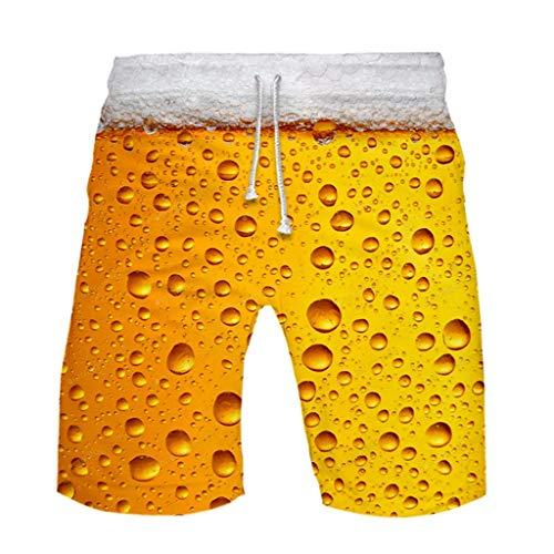 YEBIRAL Herren Shorts Lustig Bier 3D Druck Kurze Hose Schnelltrocknend Badehose, Sommer Männer Jungen Strand Surf Board Shorts Freizeithose Sporthose Sweatpants Badeshorts