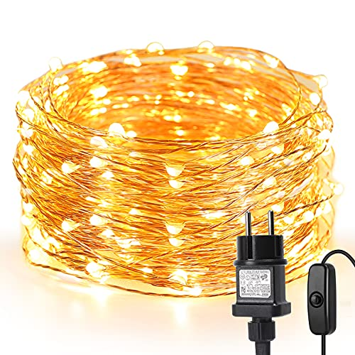 LE 10M LED Lichterkette Draht aus Kupferdraht, 100 LEDs, Wasserdicht IP65, Strombetrieben, ideal Stimmungslichter für Weihnachtsdeko Innen Außen Weihnachten Party Hochzeit usw. Warmweiß