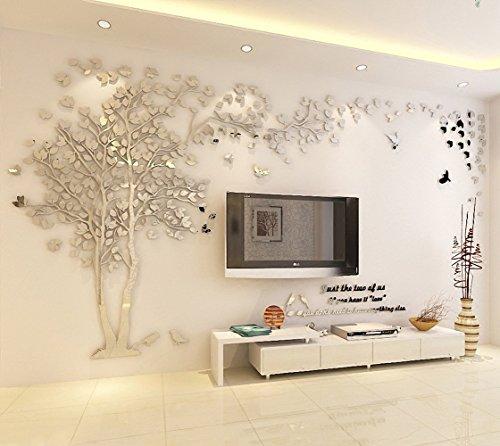 DIY 3D Riesiger Baum Paar Wandtattoos Wandaufkleber Kristall Acryl Malen Wanddeko Wandkunst (L, Silber, Recht)