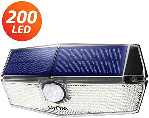 200 LED Solarlampen für außen【Neueste Version】LITOM Solarleuchten mit Bewegungsmelder,3 Modi,270°Beleuchtungswinkel,IP67 Wasserdicht,led solar außen,Solarlampe für Garage,Treppen,Hof,Einfahrt (Weiß)