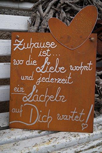Dekostüberl Rostalgie Tafel mit Herz - Zuhause ist. Edelrost Gedichttafel Schild Spruch Metall