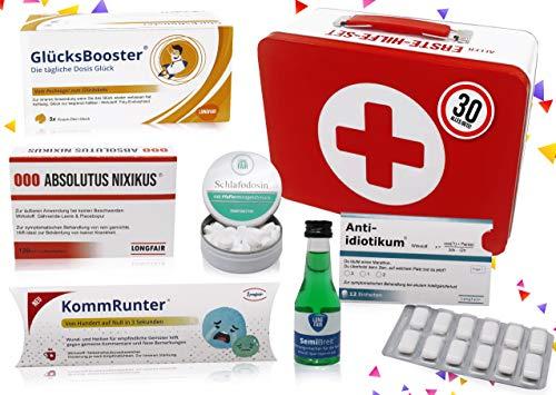 30. Geburtstag   Erste Hilfe Set Geschenk-Box, witziger Sanikasten   8-teilig   Spaßgeschenk zum 30. Geburtstag