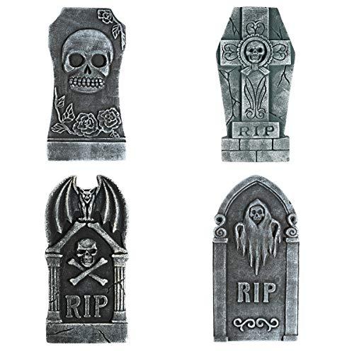 Toyvian 4 STÜCKE Halloween Grabstein Dekorationen, Realistische RIP Grabstein Friedhof Spukhaus Dekorationen und Zubehör 15,7 'x 9,8' x 0,8 '