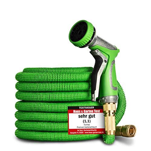 DUNLOP Gartenschlauch flexibel dehnbarer TESTSIEGER - Verschleißfreie Messinganschlüsse und gratis Metallbrause I dehnbarer Gartenschlauch 3/4 Zoll flexibler Wasserschlauch flexi (22,5 Meter)