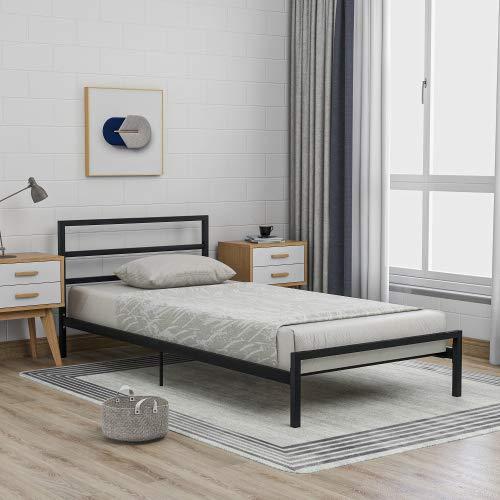 Bett, Bettgestell mit Kopfteil Einfacher Metallbettrahmen, Plattformbett mit Lattenrost, Schlafzimmerbett jugendbett für Schlafzimmer Gästezimmer (Schwarz, 90 x 200 cm, B)