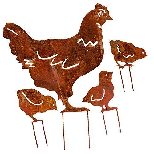 aubaho Set 4-teilig Gartenstecker Beetstecker Huhn Küken Eisen Rostig Antik-Stil 48cm