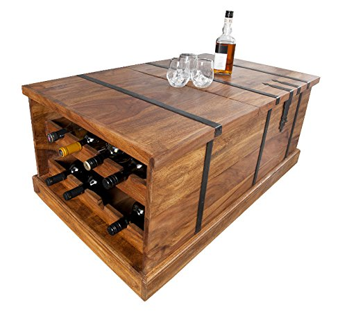 DuNord Design Couchtisch Hausbar Bonaire 100cm Palisander Sheesham Massivholz Truhe Bar