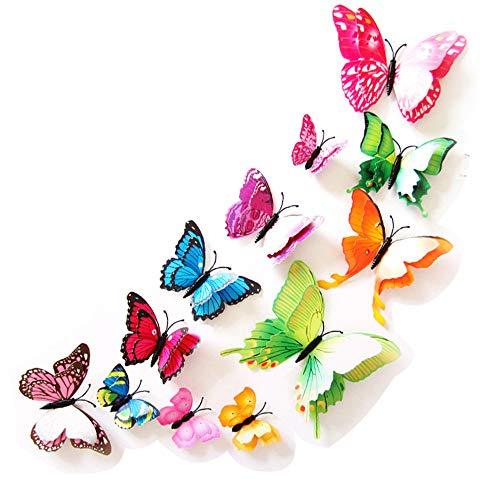 Baanuse Schmetterlinge Wandaufkleber, 3D Schmetterlinge DIY Wand Haus Dekoration Baby Zimmer, 12 PCS