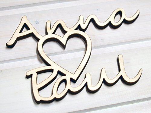 kh Wohndesign Herz mit 2 Namen (Echt Holz) Persönliches Individuelles Geschenk für viele Anlässe - Valentinstag Jahrestag Geburtstag Verlobung Liebe Männer & Frauen