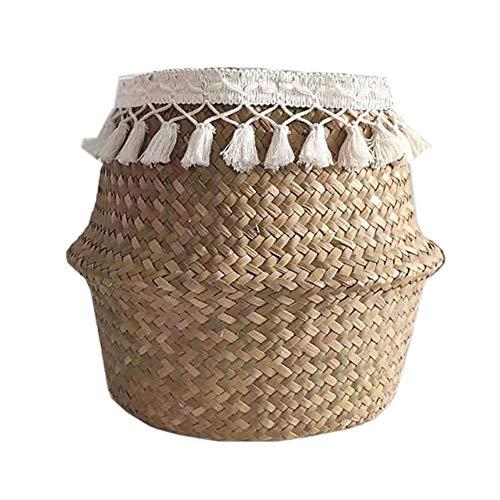 Kenyaw Wäschekorb Faltbar Seegras Blumenkorb Handgewebt Blumen Stroh Korb Für Pflanze Blumentopf Spielzeug Wäsche Lagerung Veranstalter Strandtasche(XL)