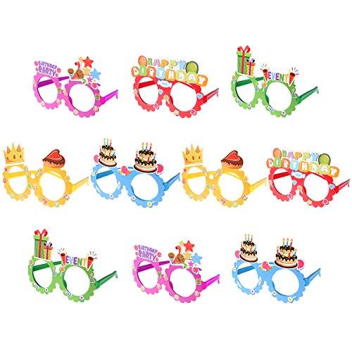 Toyvian Geburtstag Brille 10 Stück Party Gläser Rahmen Keine Linsen Brillen Posing Requisiten Kostüm Geburtstag Fotoaccessoires Lustiger Brillen Kinder Geschenke