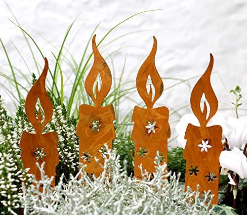 Lilienburg Weihnachtsdeko Roststecker Rost Kerze Licht Metall wetterfest (4er Set Kerze)