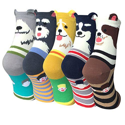 Justay 5 Paar Damen Mädchen Baumwolle Socken, Cartoon Süße Design mit Lustiger Tiere Malerei MEHRWEG