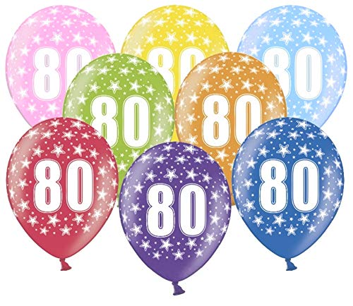 Libetui 10 kunterbunte Luftballons Metallic 30cm Deko zum 80. Geburtstag Party Happy Birthday Dekoration Zahl 80