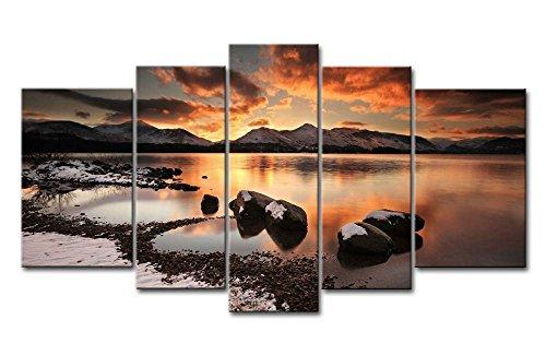 Sonnenuntergang Bilder leinwand 5 Teilig Bild Maritime Schöner Meerblick Wandbilder Wohnzimmer Moderne für Schlafzimmer Dekoration Wohnung Home Deko Kunstdruck