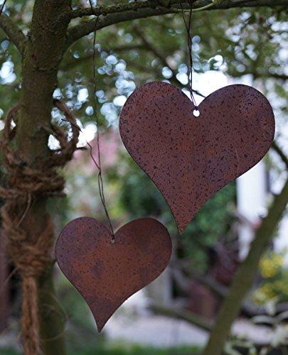 Dekostüberl Rostalgie 2 Edelrost Herzen geschlossen zum Aufhängen Set Hänger Garten Deko Geschenk Herz - 2 Stück