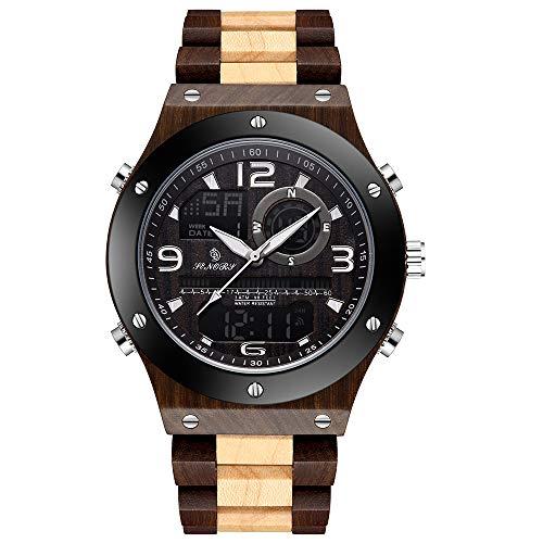 ZUKN Herren Holzuhr LED Dual Display Auto Datum Leuchtzeiger Design Quarzuhr wasserdichte Digitale Armbanduhr Holz Geschenkbox,A