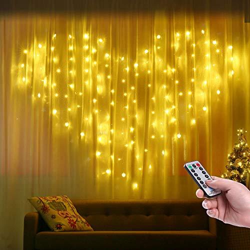 LED Lichtervorhang Herzförmig, Qedertek 124 LED Herz Lichterketten 2m x 1.5m 8 Modi Lichterkettenvorhang Warmweiß Innenbeleuchtung für Hochzeit, Heiratsantrag, Geburtstag, Schlafzimmerdekoration