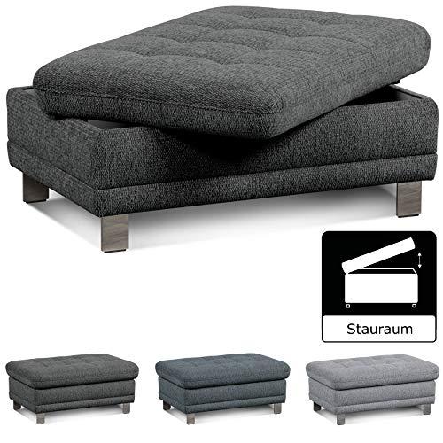 Cavadore Sofa-Hocker 'Imit' mit Stauraum / Praktischer Beistellhocker, Sitzhocker, Polsterhocker mit Stauraum / Metallfüße / Größe: 102x46x68 cm (BxHxT) / Strukturstoff in anthrazit (grau)