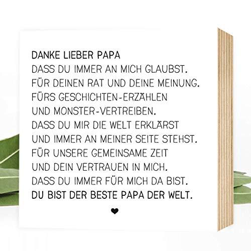 Wunderpixel® Holzbild Danke lieber Papa - 15x15x2cm zum Hinstellen/Aufhängen, echter Fotodruck mit Spruch auf Holz - schwarz-weißes Wand-Bild Aufsteller zur Dekoration/Geschenk - Danke-schön