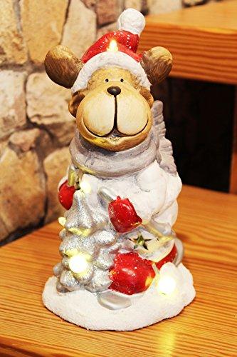 KAMACA LED Figur Christmas Friends aus Keramik gefertigt mit LED Licht für Lange Winter - Advents - und Weihnachts - Abende Geschenk (Rentier 24 cm)