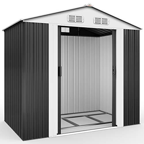 Deuba XL Metall Gerätehaus 2,4m² mit Fundament 210x132x186cm Schiebetür Anthrazit Geräteschuppen Gartenhaus Schrank 4,2m³