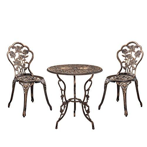 [casa.pro]] Gartentisch/Bistro-Tisch 60cm, rund, Bronze mit 2 Stühlen - Französische Gartenmöbel im Antik-Look für Balkon/Terrasse - Bistro-Set wetterbeständig, Gusseisen-Metall als Gartendeko