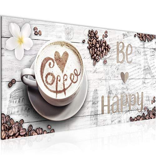 Bilder Küche Kaffee Wandbild 100 x 40 cm Vlies - Leinwand Bild XXL Format Wandbilder Wohnzimmer Wohnung Deko Kunstdrucke Weiß 1 Teilig - MADE IN GERMANY - Fertig zum Aufhängen 020712b