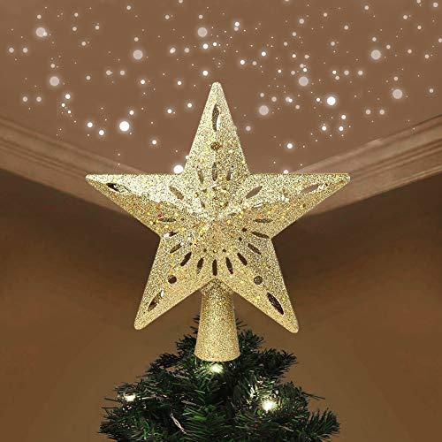 Hinmay beleuchtete Weihnachtsbaumspitze mit ausgehöhltem Glitzer, Stern, Baumspitze mit rotierenden LED-Schneeflocken, Projektor-Lichtern für Weihnachtsbaum, Ornament, Weihnachten, Heimdekoration gold*