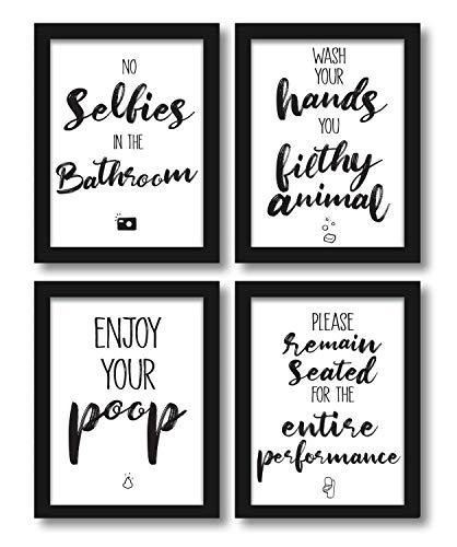 WIETRE Premium 4er-Set lustige Bad WC Sprüche   Badezimmer Toilette Zitate - Deko Bild   Kunstdruck A4 Poster witzig - ohne Rahmen, Schwarz & Weiß, 20 x 30 cm