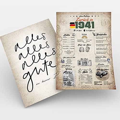 Zeitreise | Geschenk 80. Geburtstag | Geschenkidee Geburtstagsgeschenk | Achtzigsten Geburtstagsdeko | 80 Geburtstag Männer, 80 Geburtstag Frau | Geburtstagskarte – 80 Jahre | Geboren in 1941