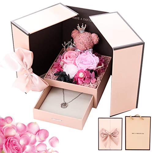 Überraschung Box für Valentine - Ewige Rose& Künstliche Handgemacht Konservierte Rose, Rosa RosenGeschenke zum Geschenkbox für Ringe Halskette Geschenke, 13cm x 13cm x 17cm - Kreative