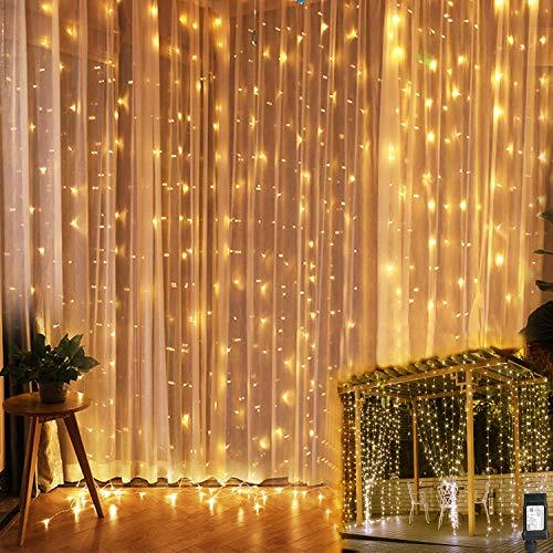 Led lichterketten 6x3m, 600 LEDs Lichtervorhang mit 8 Lichtmodellen, Vorhanglichter für Deko, Party, Innenbeleuchtung, Wasserdicht Außen für Garten, Innen für Party, Festen, Balkon, Zimmer- warmweiß