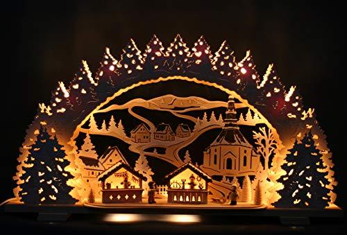 Großer 3D Schwibbogen verschneit 72cm - Seiffener Kirche & Weihnachtsmarkt - Handarbeit aus dem Erzgebirge