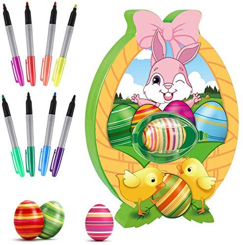 Ostereier Malmaschine zum Bemalen,Ostereier Set Automatisch mit 8er Markern & 3er Ostereier Plastik, Eier Bemal Maschine mit LED & Musik, Ostereier Dekorieren Geschenk für Kinder…