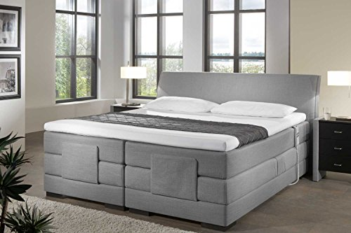 Single Boxspringbett Mailand, elektrisch verstellbar, Made in Germany, Tonnentaschenfederkern in der Box UND in der 7-Zonen Matratze, Visco Topper, Grau, H2/H3, 120x200cm