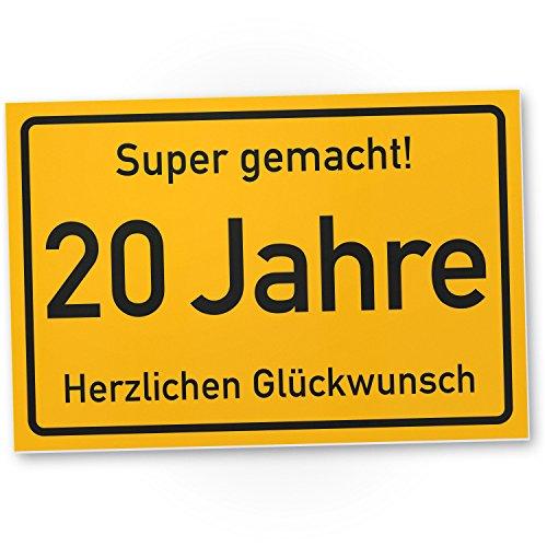 DankeDir! 20 Jahre Stadtschild Kunststoff Schild - Geschenk 20. Geburtstag Geschenkidee Geburtstagsgeschenk Zwanigsten Geburtstagsdeko Partydeko Party Zubehör Geburtstagskarte