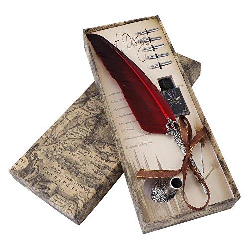 Handgemachte Dip Pen Englisch Kalligraphie Feder Dip Quill Pen schreiben Tinte Set mit 5 Ersatzspitzen und Pen Nib Basis für Briefpapier Geschenk(Rot)