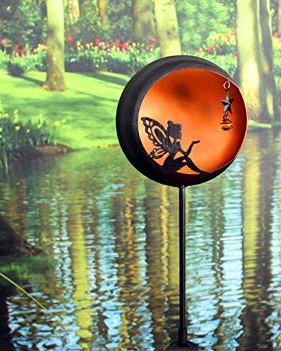 Kamaca XL LED SOLAR Gartenstab Wegeleuchte Gartenleuchte Fairytale Metallstab mit beleuchteter Acryl-Kugel mit 1 Amber LED SOLARPANEL inklusive Erdspieß (Fairytale Amber)