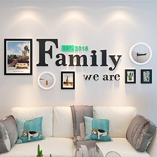 MUZIDP Kreativ Wohnzimmer Fotowand, Massivholz Multi-Bild Foto-Frame-Kombination,Home Office Foto-Rahmen-Wand-Set-E