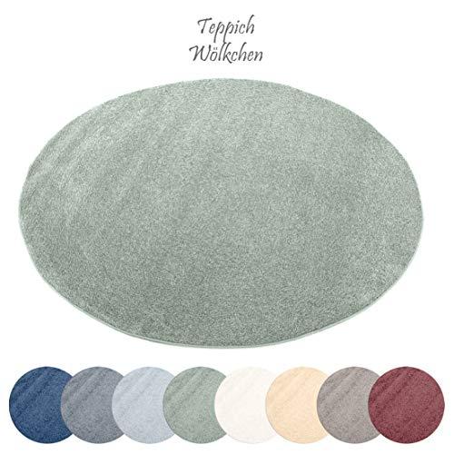 Designer-Teppich Pastell Kollektion   Flauschige Flachflor Teppiche fürs Wohnzimmer, Esszimmer, Schlafzimmer oder Kinderzimmer   Einfarbig, Schadstoffgeprüft (Mint Grün, 120 cm rund)