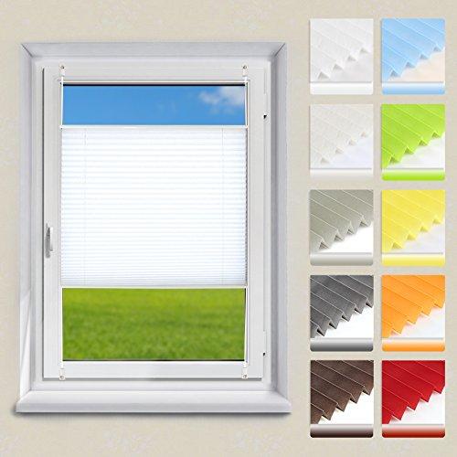 OUBO Plissee Klemmfix Faltrollo ohne Bohren Jalousie 40 x 120 cm (BxH) Weiß Sichtschutz Rollo für Fenster & Tür