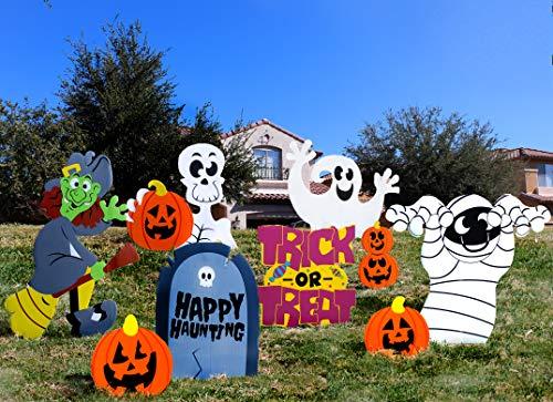 JOYIN 9 Stück Halloween Gartendeko Wellpappen Schilder für Halloween, Außen- und Innendekoration, Rasen Hof, Süßes oder Saures, Halloween Requisite